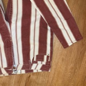 Red and white striped pants